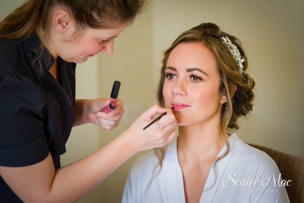 Jen's Wedding Farnham Castle Applying Makeup